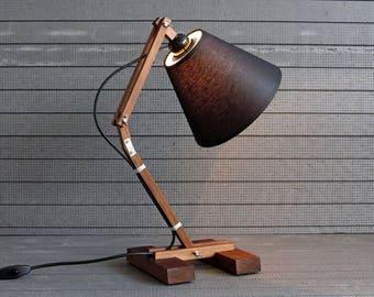Wooden Lamp, Industrial Lamp, Desk Lamp, Rustic Home Decor, Walnut Lamp, Bedside Lamp, Reading Lamp, Wooden Decor, Designer Lamp, Wood Gift