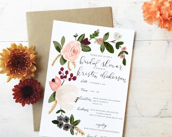 Pink Floral & Greenery Hand-painted Bridal Shower Invitation