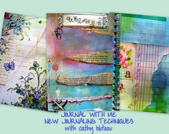 Art Class on-line, On-line Instructions, E-Course, Learn to Journal, Journal with Me II - New Journaling techniques