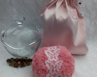 Pink Butterfly Powder Puff Gift Set. Super Soft and Fluffy.  Your choice of 100g Silky Dusting Powder in a Satin Bag. Gift Bag. Vegan Gift.