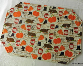 One or More Quilted Reversible Placemats, Thanksgiving Dinner & Tiny Gingerbread Men, Handmade Table Linens