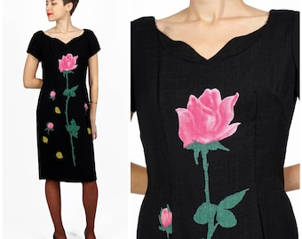 Vintage 50s 60s Black Linen Wiggle Dress with Scallop Slit and Novelty Rose Floral Print by Mr. John, Couturier | Small/Medium