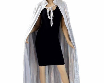"""50"""" or 60"""" Long Full Length REVERSIBLE Silver on White Shattered Glass & Flashbulb Holographic Cape Cloak 154341"""