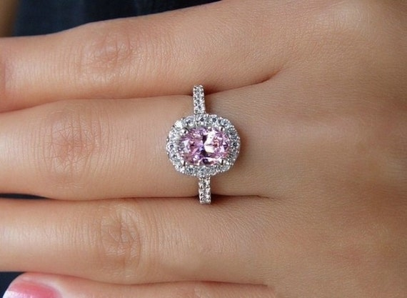 Pink Diamond SimulatedGold Ring Silver Ring 2ct Oval Cut