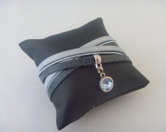 Darkblue/lightblue wrapbracelet with Swarovski
