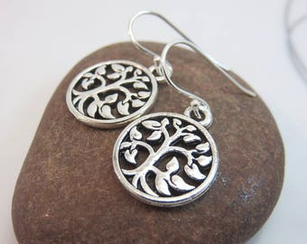 Tree of life earrings - silver tree charm earrings - tree charm dangles - round - sterling silver ear hooks - new age - yoga earrings