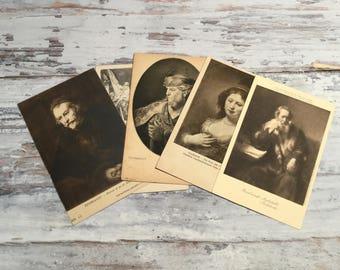 Vintage Art Postcards Set . Rembrandt  . Vintage Postcard Lot . Vintage Postcard Pack .