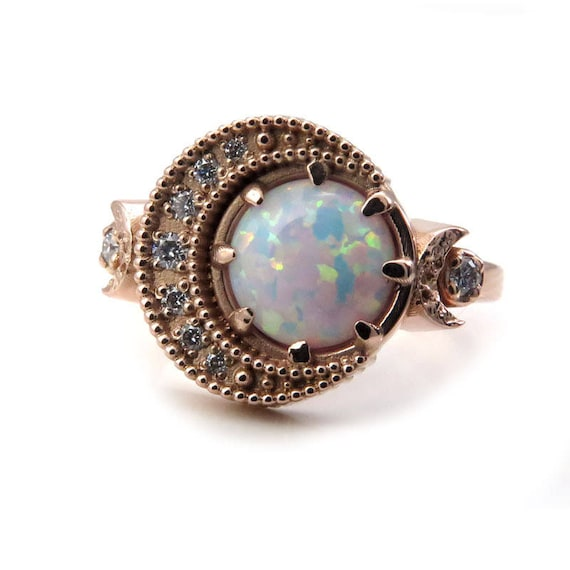 Lab Opal and Diamond Crescent Moon Celestial Engagement Ring - 14k Yellow, Rose or Palladium White Gold