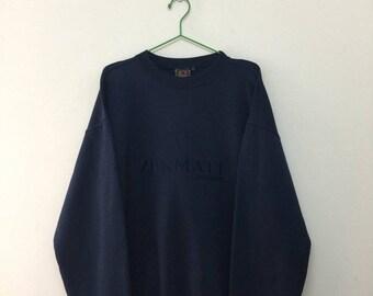 15% SALE Vintage Zermatt Switzerland Pullover Sweatshirt/Fox Swiss Design/Dark Blue/Size XL
