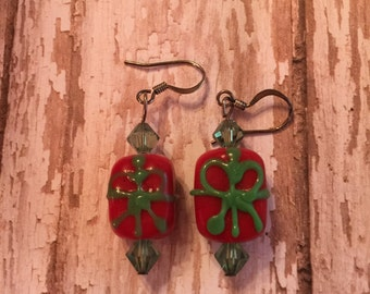 Red and Green Christmas Present Earrings