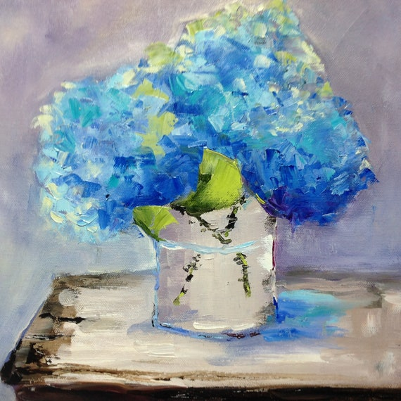 Flower painting, Blue Flowers, Still Life Painting, Cobalt Deep Blue
