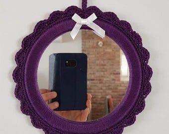 SALE - Crochet mirror, small round morror