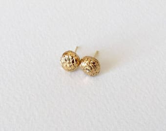 Porcelain nugget stud earrings- small 24k gold dipped porcelain studs, geometric post earrings jewelry, gift for her