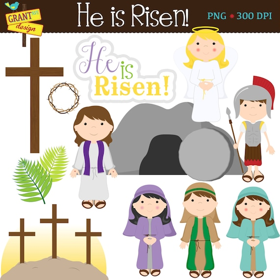 Religious easter clipart cute easter story digital clipart - Christian easter images free ...
