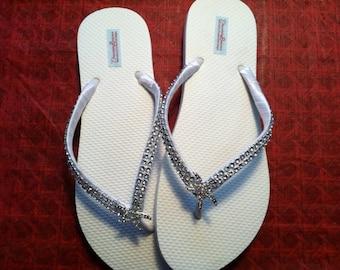 Angela Bridal Flip Flops, Custom Bridal Flip Flops, Wedding Flip Flops, Dancing Shoes Beach Wedding Starfish Bridal Sandals Sandals Shoes