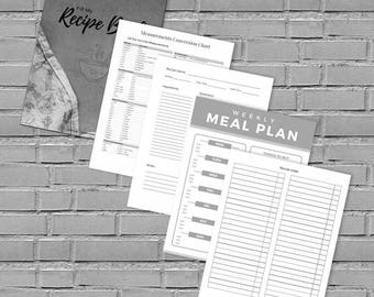 Blank Recipe Book, Fill In Recipe, Printable Recipe Binder Kit, DIY Recipe Organizer, Recipe Journal, Recipe Template - Kitchen - Gift