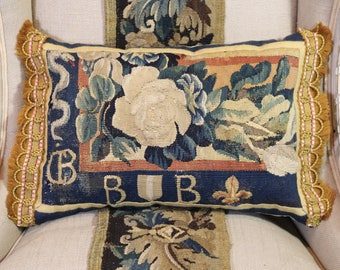17th Century French Armorial Aubusson Tapestry Pillow Antique Heraldic Cushion