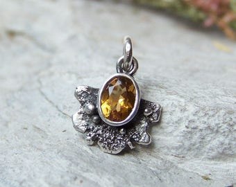 Yellow Citrine Pendant, Citrine Pendant in Raw Sterling Silver, November Birthstone