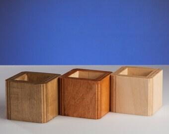Mini Wooden Planter / Small Cactus Plant Pot / Succulent Planter / Indoor Plywood Planters / Minimalist Cube Planter / Miniature Planter