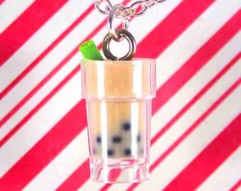 bubble tea necklace kawaii polymer clay charms miniature food jewelry polymer clay food necklace food charm boba tea charm boba tea necklace