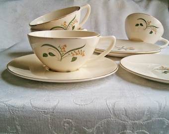 Knowles Forsythia Cups & Saucers - Set of 4