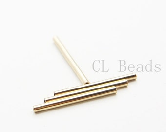 4pcs Shiny Gold Plated Tube 2x25mm with ID 1.4mm  (1684C-U-126)