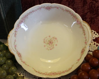 Antique Theodore Haviland French Limoges Round Serving Bowl - Pink Roses and Gold Gilding