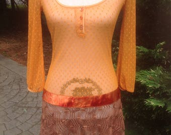 1970's Crochet Knit Drop Waist Orange Dress