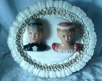 Vintage Chalkware Plaque Derby and Mustache Man and Lace Woman