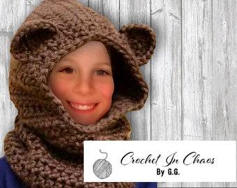 Crocheted Teddy Bear Hood; Hooded scarf; Scoodie; Kid's Hood
