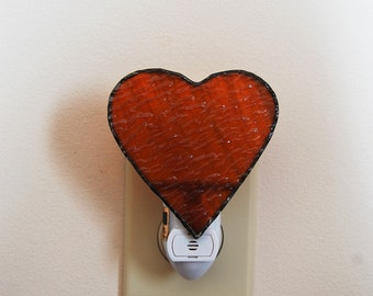 Equine Heart Nightlight // Coat Color Stained Glass Nightlight // Automatic Nightlight