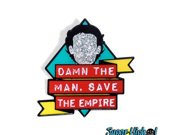 "Mark with a ""K"". (Empire Records Inspired 1.25"" Enamel Pin) *Damn the Man - 90s - Movie Quote - Rex Manning - Glitter - Cult - Rock n Roll*"