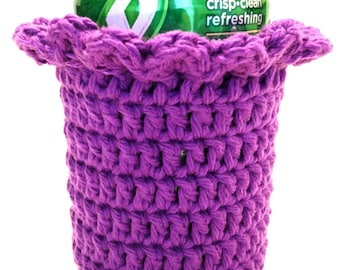 Black Currant Crocheted Can Cover With Ruffle