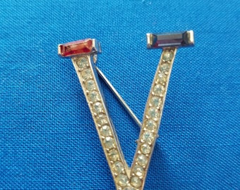 Victory Over Japan Rhinestone Pin with Chrome Backing