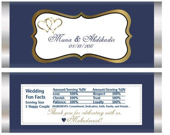 Blue and Gold wedding candy bar wrappers, blue and gold wedding favors, wedding favors, Elegant blue and gold wedding favors. Set of 20.