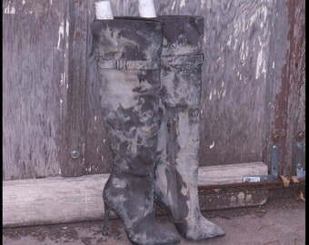 Post Apocalyptic BOOTS BROWN faux LEATHER Thigh High Boots Wastelander Boots FAllout Womens size 7