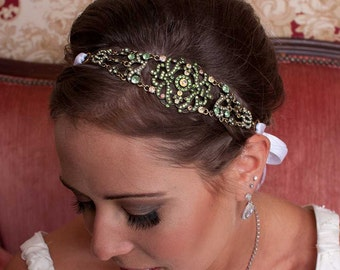 Michelle - Large Vintage style Jeweled Ribbon Headband in Emerald