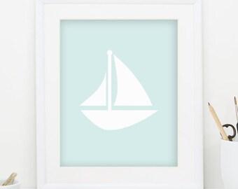 Sailboat Print Nautical Nursery Decor Sail Boat Decor Sailboat Decor Nautical Decor Blue Wall Art Sail Boat Print Digital Downlaod 0088