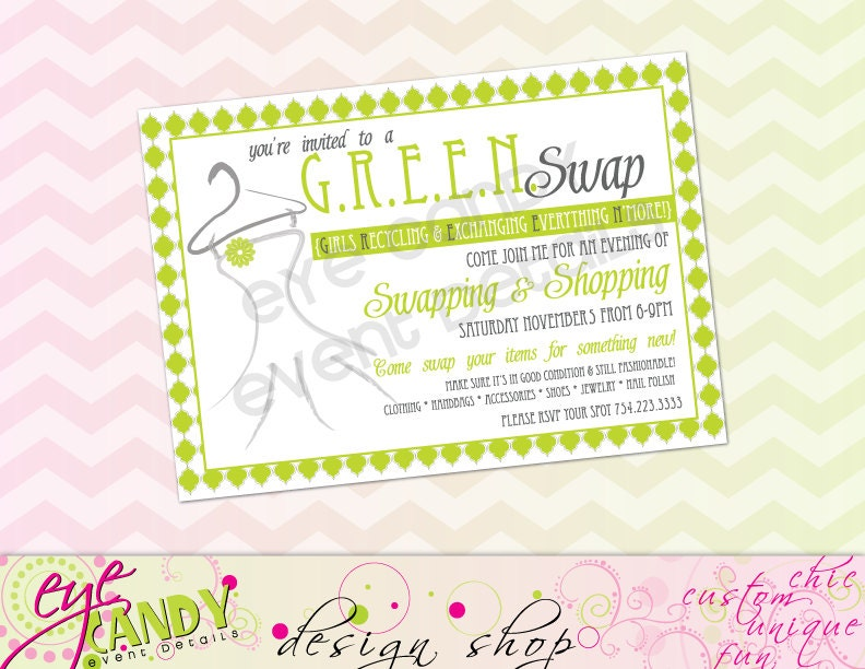 CLOTHING SWAP Party INVITE Shopping Party Swap n Shop diy