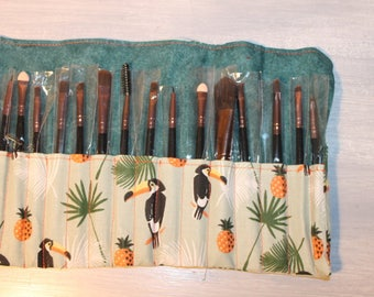 for 15 brushes makeup bag, sold with brushes, toucans, tropical