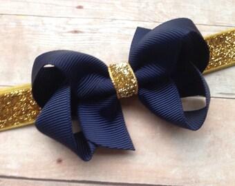 Navy blue & gold baby headband - gold baby headband, gold headband, navy bow headbands, baby headbands, baby bows, baby bow headbands, bows