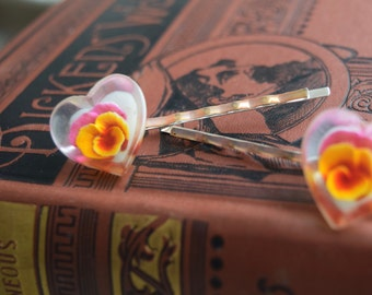 Vintage Lucite Heart Shaped PANSY Hair Pins, OOAK Bobby Pins, Hair Jewelry, Gift for Her Under 20