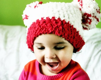 3 to 6m Baby Christmas Hat, Baby Pom Pom Hat, Infant PomPom Hat, Christmas Baby Hat, Christmas Infant Hat, Cream Red Pom Pom Beanie