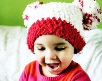 0 to 3m Newborn Pom Pom Hat, Christmas Baby Beanie, Baby PomPom Hat, Red Cream Baby Hat, Baby Shower Gift, Baby Costume