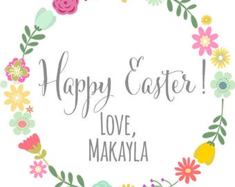 Personalized- Happy Easter Spring Floral Wreath Thank You Stickers, TagsPrinted & Shipped or DIY
