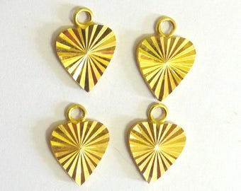 5 gold and striped heart pendants charms hearts for jewelry making