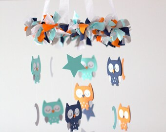 Owl Nursery Mobile in Navy, Orange, Aqua, Gray & White- Baby Mobile, Baby Shower Gift