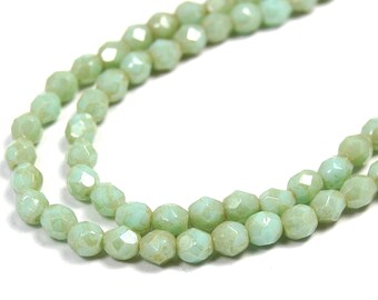 100/pc Opaque Pale Turquoise Star Dust Czech 4mm Fire-polished Faceted Round Beads
