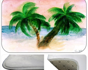 Twin Palms Palm trees bathmat from my art