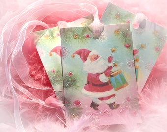 Set of 9 Pink Christmas Vintage Santa Claus Father Xmas and Pink Ribbons Gift Bag Art Tags  Tree Ornaments Shabby Chic Retro Greeting Cards